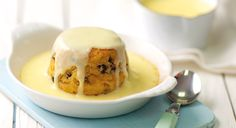 Easter steamed pudding with cinnamon custard