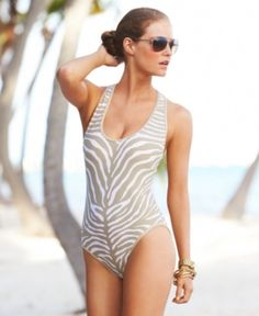 Michael Kors - Racerback Animal-Print Swimsuit! #AnimalPrint #Zebra #swimsuits #onepiece