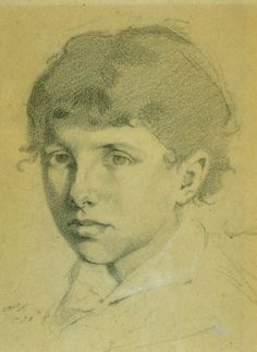 self portrait 1878 (18-vuotias) black and white crayon on paper 33.5 x 26.5cm,Helene Schjerfbeck