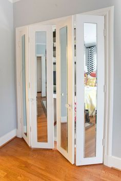 Closet doors are vital, but often ignored when it involves room decoration. Create a new look for your room with these closet door ideas. It is essential to produce one-of-a-kind closet door ideas to improve your home decor. Mirror Closet Doors, Bedroom Closet Doors, Wardrobe Doors, Door Mirrors, Master Closet, Room Doors, Bi Fold Closet Doors, Bathroom Closet, Framed Mirrors