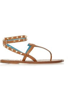 Valentino Studded two-tone leather sandals | NET-A-PORTER