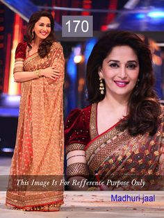 Madhuri Dixit Beige Net Bollywood Inspired Saree with Velvet Blouse Buy Sarees