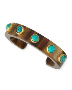 Mbegu Dark Horn & Turquoise Cuff by Ashley Pittman at Bergdorf Goodman.