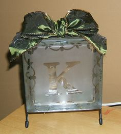 monogrammed glass etched glass block