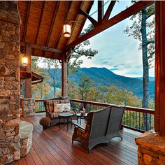 Outdoor living on this beautiful mountain home's deck. Amazing Views!