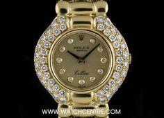 #Rolex 18k Yellow Gold Champagne Dial Diamond Set #Cellini Ladies #Wristwatch Rolex Cellini, Used Rolex, Gold Champagne, Vintage Rolex, Rolex Watches, Bracelet Watch, Bling, Yellow, Diamond