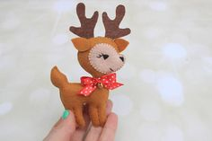 Hello dear buyers! Welcome to my miracle world where all your felt dreams will come true! This listing is for Felt Reindeer ornament. Toys are totally hand made: hand cut and hand sewn of high quality soft felt, lightly stuffed with non-allergenic hollofayber. May not be washing
