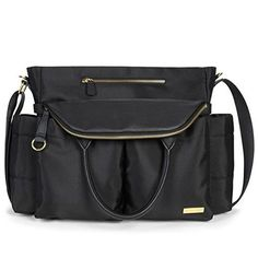 Skip Hop Chelsea Downtown Chic Diaper Satchel, Black - The Chelsea Diaper Satchel is a runway-inspired style with the functionality you need from day to night. With its chic exterior and twelve spacious pockets, you'll be able to fit your most-needed items and look stylish doing it. Insulated side pockets perfectly fit bottles, sippy cups and snacks ...
