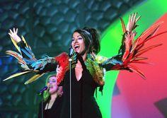 Dana International and the lovely Jean-Paul Gaultier bird dress in Birmingham 1998. #eurovision