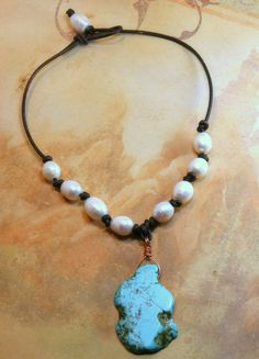 Chunky Style Turquoise Slab and Pearls on by AllowingArtDesigns, $38.00