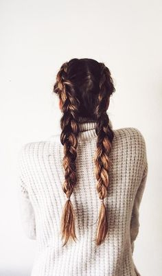 Easy Hairstyle: Two French Braids.