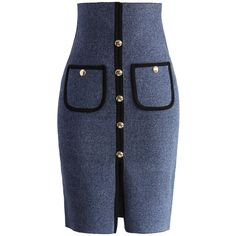 Chicwish Studded Pockets Knitted Pencil Skirt in Blue (170 SAR) ❤ liked on Polyvore featuring skirts, blue, embellished skirt, pocket skirt, pencil skirt, blue knee length skirt and studded skirt