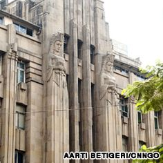 New India Assurance Building, Mumbai, India: Master, Sarhe and Bhuta, with N.G. Parsare, 1936.The building's art deco architectural style combines modern art deco features with a modified classicism, evidenced in the strong vertical ribs of the façade that give the building a monumental appearance, making it seem larger than it is in reality. Included in the design was a modern forced air cooling system with centralised duct work.