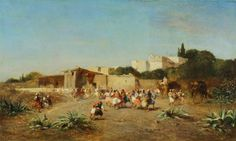 Eugène Fromentin (1820-1876) - Welcome to the caravan at the Kasbah, oil on panel, 23 x 39 cm.