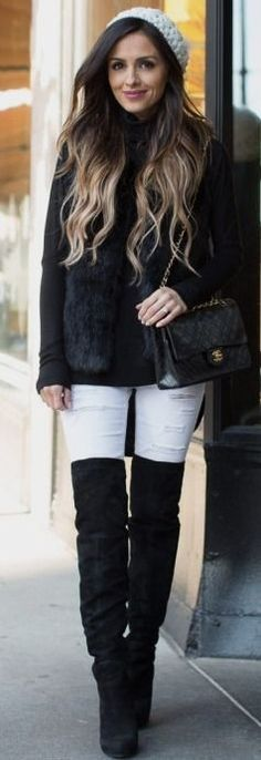 Pink smile, waistlength wavy ombré hair, knit white cap, black OTK stretch-sued boots, long-sleeve black top w/ faux fur scarf & quilted leather shoulderbag