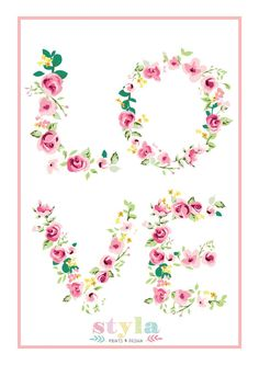 Floral Love Quote Kids Print Nursery/Girlie/Flowers/Pink