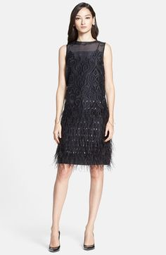 St. John Organza Fil Coupe Shift Dress    '20s-inspired organza shift cutwork below the seamed yoke Sequin-tipped feathers