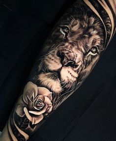 Brilliant Lion Tattoos Designs And Ideas - Awesome Lion Tattoo Designs And Ideas For Men And Women A Roaring Lion Tattoo Design On Chest Is The Coolest Tattoo Ideas For Men This One Is Looking That He Is In Attacking Mode Lion Eyes Lion Forearm Tattoos, Lion Head Tattoos, Mens Lion Tattoo, Leo Tattoos, Body Art Tattoos, Tattoos For Guys, Tattoos Of Lions, Tattoo Drawings, Tatto Man