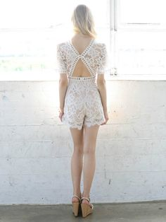 d0eca07fa0a6 Ivory Love at First Sight Lace Romper with open back and laser cutouts - Social  Butterfly