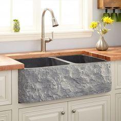 "36"" Polished Granite 60/40 Offset Double-Bowl Farmhouse Sink - Chiseled Apron - Blue Gray"