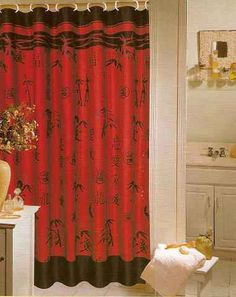 Asian (red/black bathroom) NIP .RED & BLACK ASIAN CHINESE BAMBOO FABRIC SHOWER CURTAIN #PopularBath #Asian