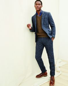 J.Crew men's Ludlow fielding suit, Wallace & Barnes V-neck sweater and Kenton pacer boots. #howiludlow
