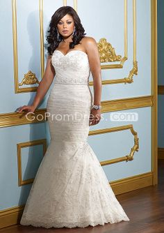 Mermaid Lace Sweetheart Embroidery lace-up back Wedding Dress