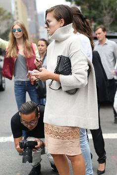 NYFW Street Style Day 6: Danielle Bernstein added a touch of Fall with her turtleneck sweater.
