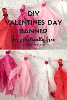 Looking for some ideas for cheap dollar store Valentines Day decorations? Look no further! This cute and fun tissue paper banner is an easy DIY craft that even your kids can do. #valentinesday #valentinesdiy #tissuepaperbanner #banner #diy #dollarstore #cheap  Valentine's day | Decorating Ideas | Rustic Decor | Festival Moods | Signs #love #partnar #surprise #valentinesday #decorationideas #valentines #valentinesdaycrafts #valentinesdecor