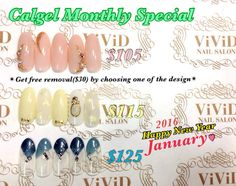 January2016 $105 office nail art! Simple yet sparkle sophisticated design  $115 cute design with the image of perfume bottle★ $125 two colours V French with silver lines. Cool nails!!  $105オフィスネイルにぴったりのシンプルで洗練されたデザイン $115 パフュームボトルをイメージしたアートが可愛らしい♥︎ $125 ②色のVフレンチにシルバーラインで指先からカッコ良くCOOLに!!  Calgel monthly special*Free Removal of Calgel By choosing one of the design below and get free removal($30) The colour could be changed with your preference!  カルジェル今月のキャンペーン【オフ代無料】…