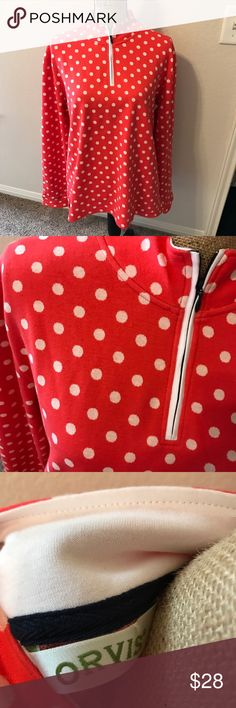 {Orvis Polka Dot Half Zip} So cute and warm! worn once, in great condition. Orvis Jackets & Coats