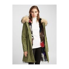 Mr & Mrs Italy Multicolour fur army parka ($4,515) ❤ liked on Polyvore featuring outerwear, coats, army parka, military-style coats, white parka, fur coat and fur-lined parkas