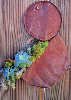 From {Smashed Tin Can Trash} to {Rustic Succulent Plant Treasure!}