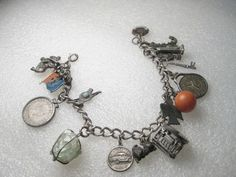 """Vintage Sterling Silver Bracelet & 17 charms, Spinning Cable Car, Native, 7"""" #IonaIWCothers #charmbracelet"""