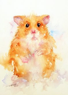 Hamster Small Animal Painting Original Watercolor by artiart