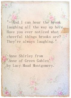 Lol, I had this conversation with my mom about our brook! Brooks always sound happy :)