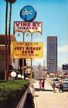Joey Bishop Show ABC) was filmed at The Vine Street Theatre, 1313 North Vine Street, Los Angeles. Travel California USA Saw the show when I was Images Of California, Vintage California, California Dreamin', Hollywood California, California History, Joey Bishop, Los Angeles Hollywood, Cities, Los Angeles Area