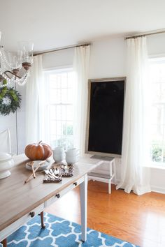 Barn & Willow Sheer Linen Drapes in Diane's dining room @InMyOwnStyle