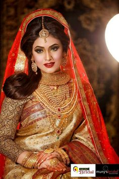 Bangladeshi bride Indian Bridal Outfits, Indian Bridal Wear, Asian Bridal, Bridal Dresses, Beautiful Indian Brides, Beautiful Girl Image, Beautiful Indian Actress, Beautiful Bride, Bengali Bridal Makeup