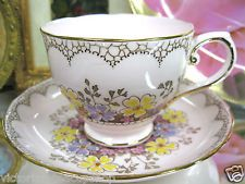 TUSCAN PINK & BEADED TEA CUP AND SAUCER ROCK GARDEN PATTERN TEACUP PAINTED