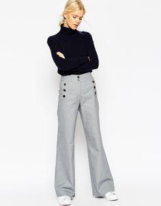 Image 1 ofASOS Wide Leg Mini Check Trousers with Button Detail