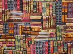 2 REMNANTSLibrary Book Print Pure Cotton by fabricsandtrimmings, $5.80