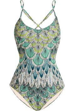 Mara Hoffman|Feather-print swimsuit|NET-A-PORTER.COM