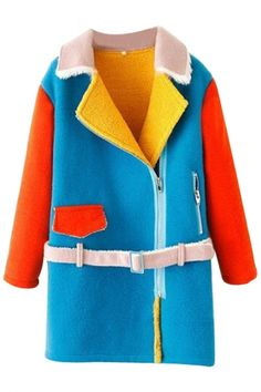 Elegant Color-Block Woolen Coat