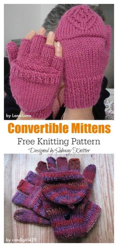knitting patterns free The 2 in 1 Fingerless Gloves & Mittens Free Knitting Pattern can help turn any fingerless mitt into flip top mittens. It's an easy and speedy little knit. Knitted Mittens Pattern, Fingerless Gloves Crochet Pattern, Loom Knitting Patterns, Fingerless Gloves Knitted, Knitting Blogs, Free Knitting, How To Knit Mittens, Knitting Ideas, Knitting Accessories