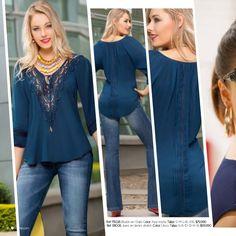 Ref 151030 Blusón en chiffon y viscosa Color: Único Tallas: S-M-L-XL $69.990 Ref 181003 Jeans en denim stretch Color: Blan...