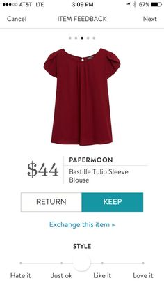 Stitch Fix Papermoon Bastille Tulip Sleeve Blouse