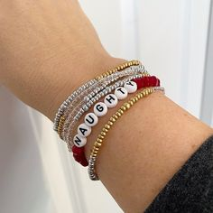 Naughty or Nice Individual Beaded Crystal Bracelet Stretch | Etsy Stackable Bracelets, Crystal Bracelets, Bangles, Faceted Crystal, Crystal Beads, Crystals, Layered Look, Stretch Bracelets, Unique Jewelry