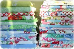 Vintage table cloths. Beware our linen closet!
