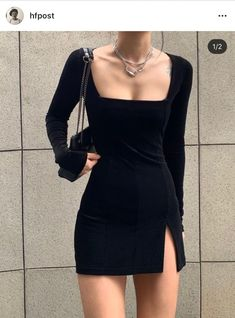 [bohemian made] square neck mini dress / velvet Fashion Week, Look Fashion, Korean Fashion, Womens Fashion, Classy Outfits, Trendy Outfits, Mode Poster, Looks Black, Mode Inspiration
